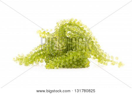 Green Caviar On White Background