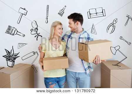 home, people, repair and real estate concept - smiling couple with big cardboard boxes moving to new place over doodles