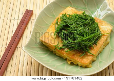 close up Fried tofu vegetable vegetarian food