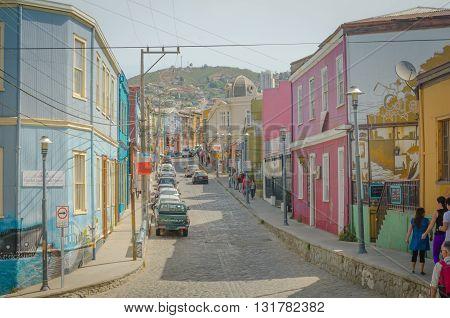 Valparaiso, Chile - November 01 2014: Street In The Center Of Valparaiso, Chile