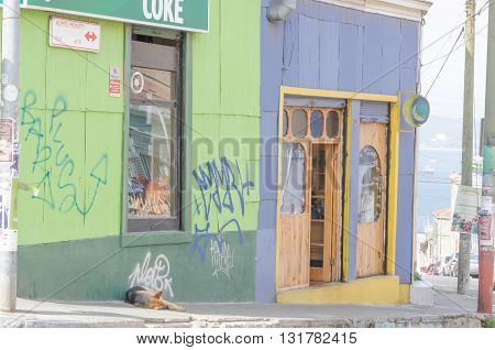 Valparaiso, Chile - November 01 2014: Local Commerce In Street In The Center Of Valparaiso, Chile