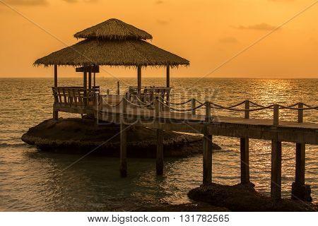 Wonderful sunset over the sea water at island Koh Kood Thailand.