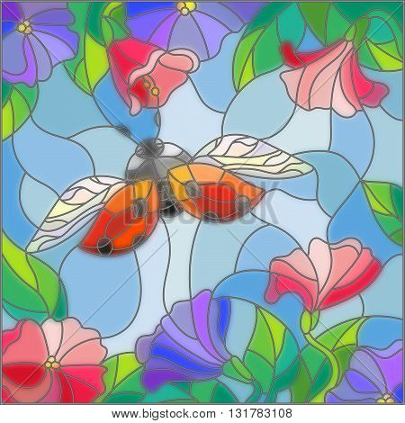 Illustration in stained glass style with bright ladybug against the sky foliage and flowers
