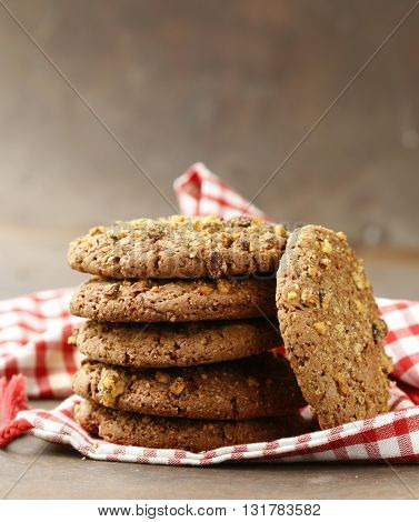 homemade round cookies with nuts and oatmeal