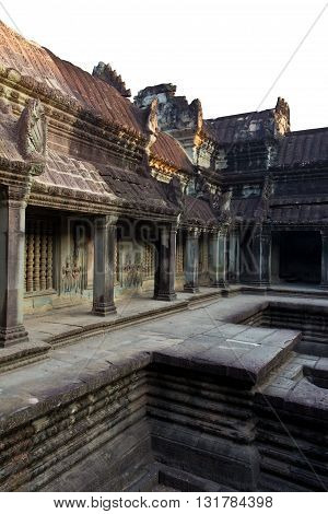 Restored ruins at Angkor Wat temple Cambodia
