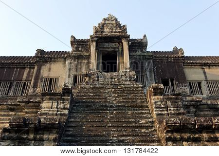 Steep stairs at Angkor Wat temple Cambodia