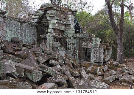 Stone Blocks Of Ta Phrom Ruins