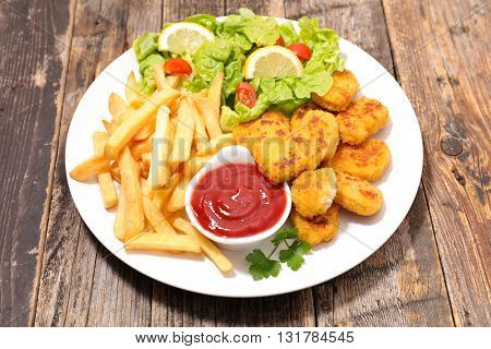 nugget,french fries and vegetable