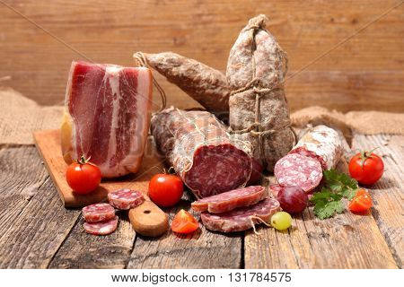 assorted salami and bacon