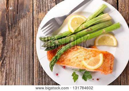 baked salmon fillet and asparagus