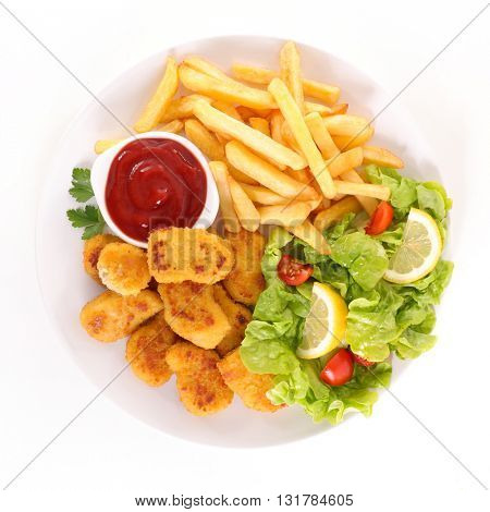 fried chicken nugget and french fries