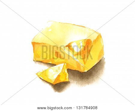Yellow yummy block of butter watercolor painting illustration