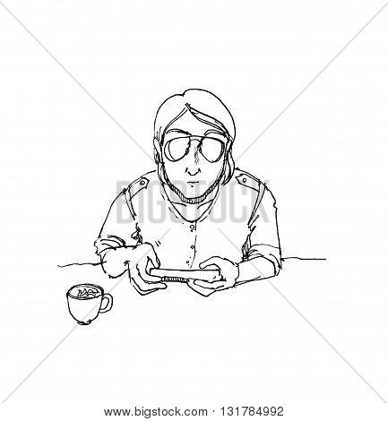 Man Wearing Sunglasses Using Smartphone On Table At Coffee Shop Pen Drawing Illustration