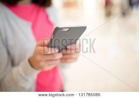 Woman browsing phone