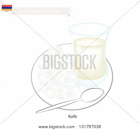 Armenian Cuisine Kefir or Fermented Milk Made of Milk and Tibetan Mushroom Grains. One of The Most Popular Drink in Armenia.