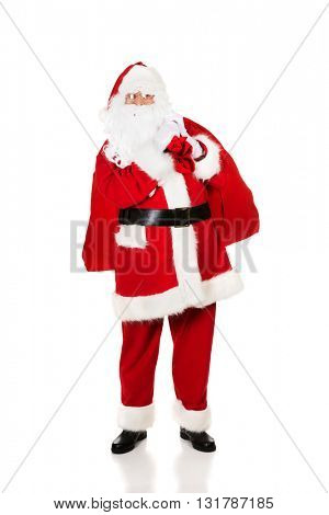 Photo of happy Santa Claus in eyeglasses
