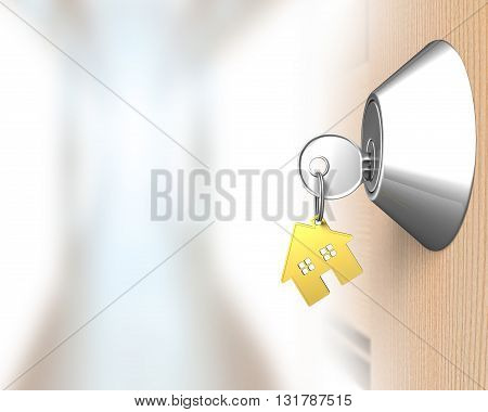 Key With House Shape Key-ring And Door Lock
