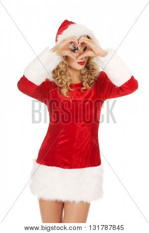 Santa woman doing a heart with her hand