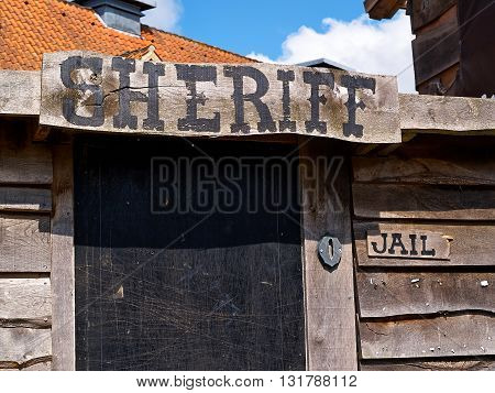 Old western Wild West American style sheriff's office wooden house