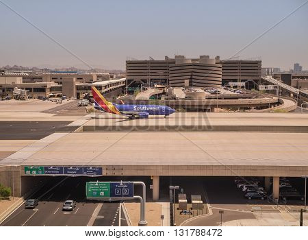 Sky Harbor Airport, Phoenix Az, May 28th,2016.  Southwest Airlines is a major U.S. airline, the world's largest low-cost carrier, headquartered in Dallas, Texas.