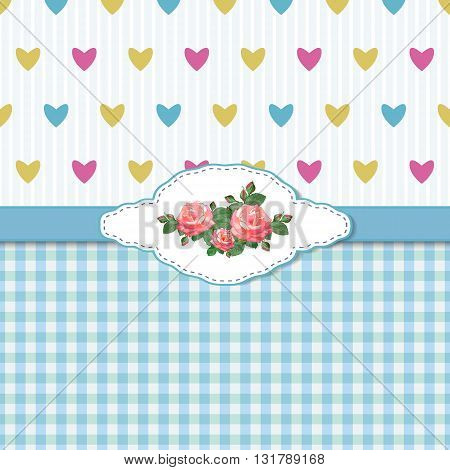 Blue Greeting Card with Roses and Hearts.Vector illustration with red roses on a pink background in the style of shabby chic.