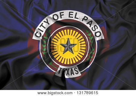 Waving Flag of El Paso Texas, with beautiful satin background