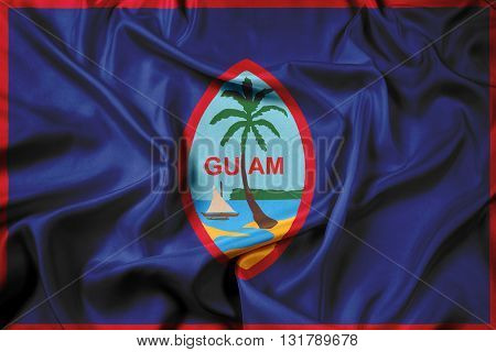 Waving Flag of Guam, with beautiful satin background