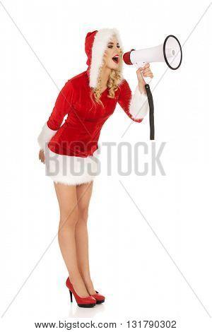 Santa woman screaming by megaphone