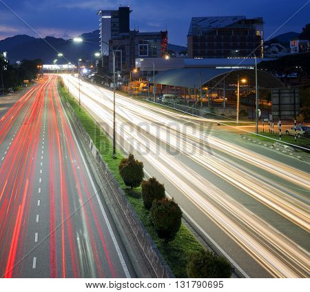 Light trail along middle ring road during sunset.