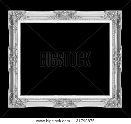 silver antique picture frames. Isolated on black background