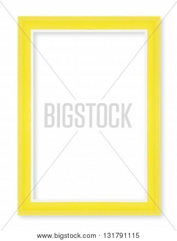 Wooden picture frames. Isolated on white background yellow color