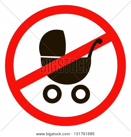 sticker of No Baby Carriage Sign. Vector illustration. No strollers or pushchair No pram sign on white background.