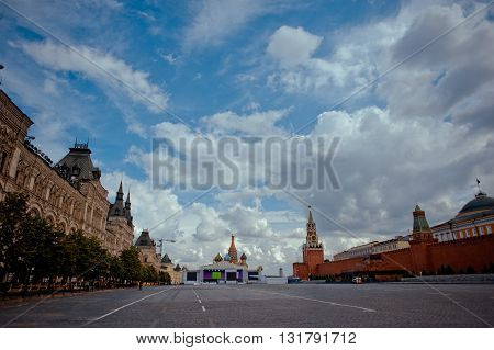 Empty Red square in the early morning