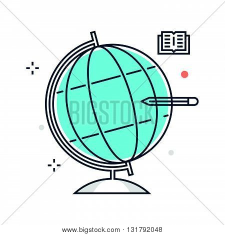 Color Line, Geography, Globe Illustration