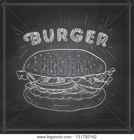 Hamburger hand drawn vector llustration realistic sketch. Burger,  scetch on a black board