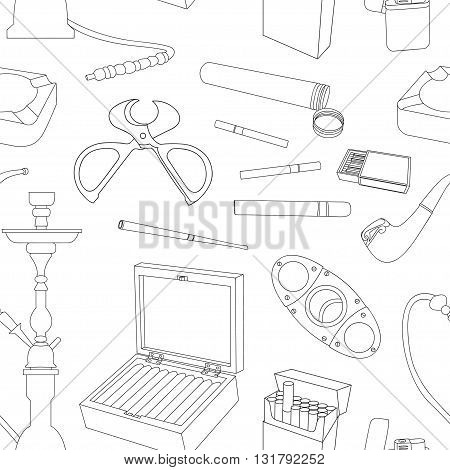 Tobacco And Smoking pattern. Hand Drawn Cigarettes, Cigars, Hookah, Matches, Tobacco Leaves, Ceremonial Pipe And Smoking Accessories
