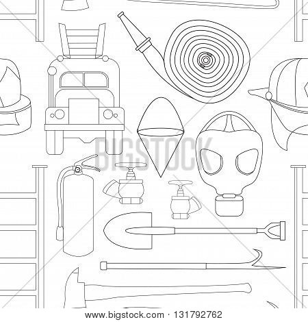Set icons of firefighting equipment pattern vector illustration isolated on white background