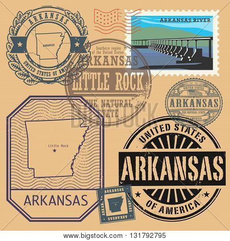 Stamp set with the name and map of Arkansas, United States, vector illustration
