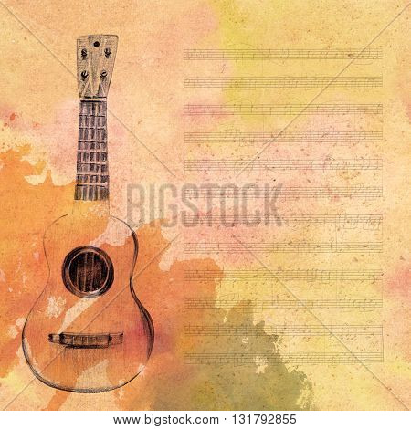 A pencil drawing of a vintage tiple guitar on a piece of aged sheet music toned to look like old parchment with a watercolor stain