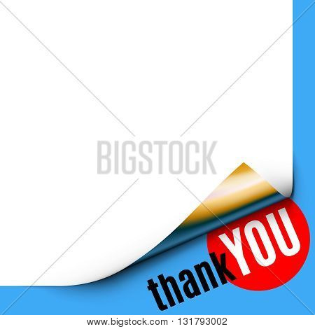 Curled White Paper Corner on Blue Background with Message. Vote of Thanks. Thank you text beneath Curled Paper Corner with Gold Back Side. Rolled Paper Corner. Vector Illustration