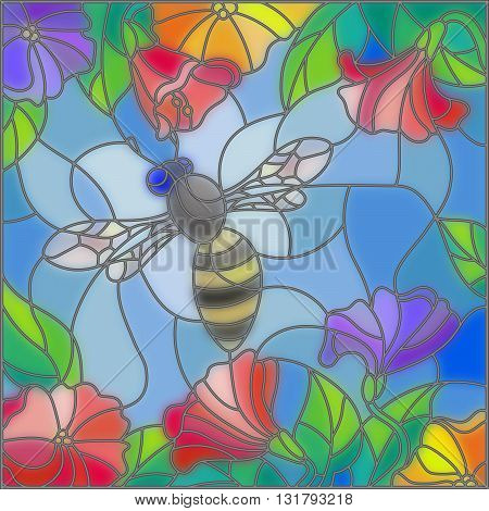 Illustration in stained glass style with bright bee against the sky foliage and flowers