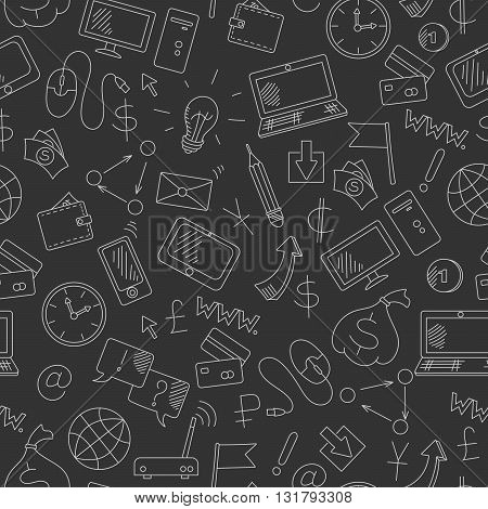 Seamless background on the topic of information technology and earn money online simple hand-drawn contour icons light outline on a dark background