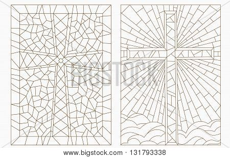Set contour illustrations with Christian cross,dark outline on a light background
