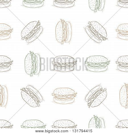 Hand drawn seamless pattern burger scetch. Vector illustration, EPS 10