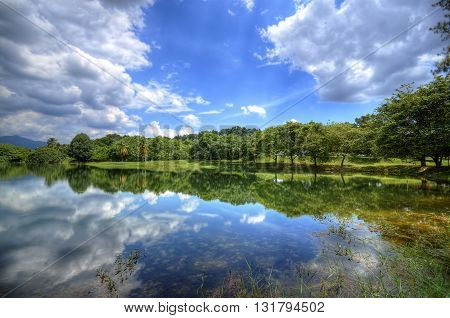 The cozy atmosphere of a lake beside the white clouds and blue sky