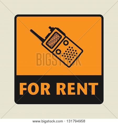Portable Radio For Rent icon or sign vector illustration