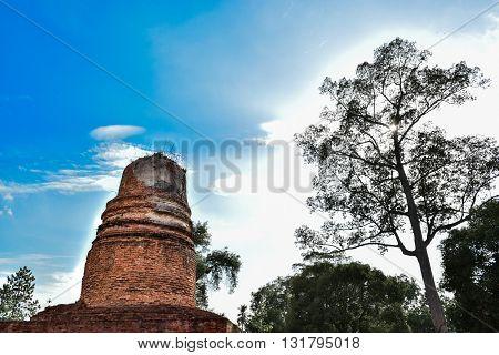 Old Chedi Wat aranyik Buddhist temple Phitsanulok thailand