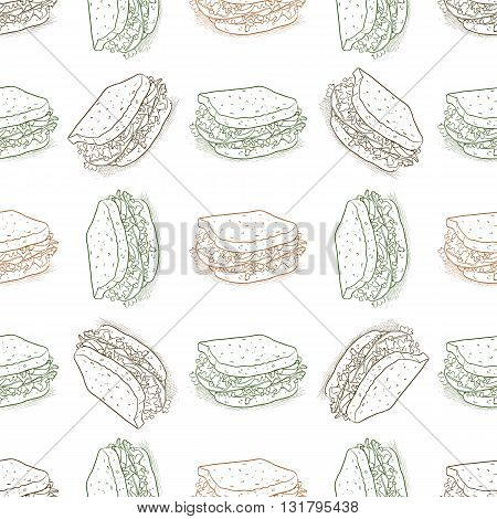 Seamless pattern sandwich scetch. Vector illustration, EPS 10
