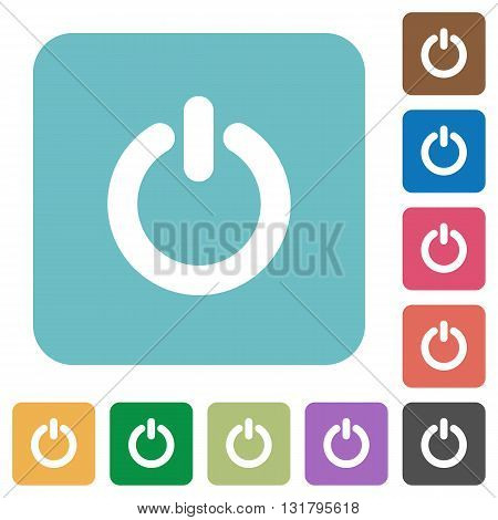 Flat power switch icons on rounded square color backgrounds.