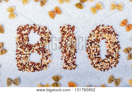 Various biological cereals forming the word BIO